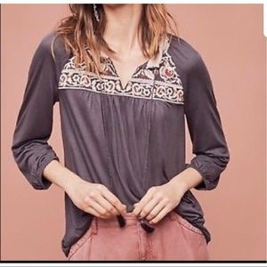 Anthropologie Peasant Top with Tassels